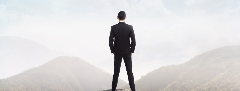 Business Man Standing On A Rock