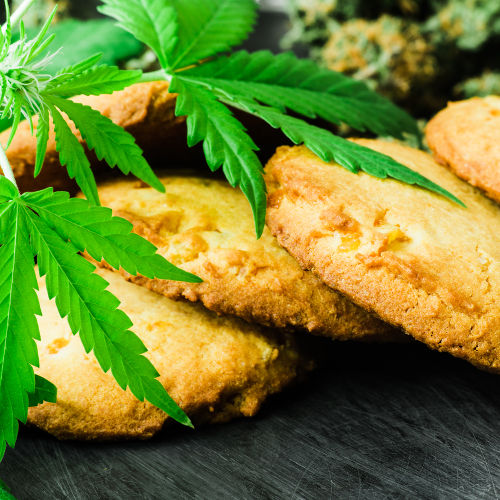 CBD Edibles Marijuana Leaf at Dispensary