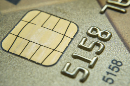 Close Up Chip on EMV Card